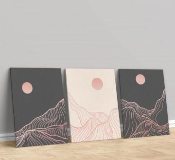 Set 3 Tablouri Canvas, The moon