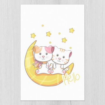 Set 3 tablouri - Pisicutele cu luna
