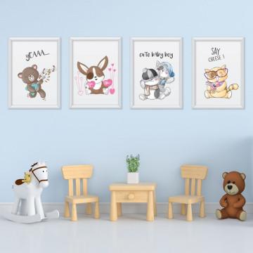 Set 4 tablouri - Animalutele