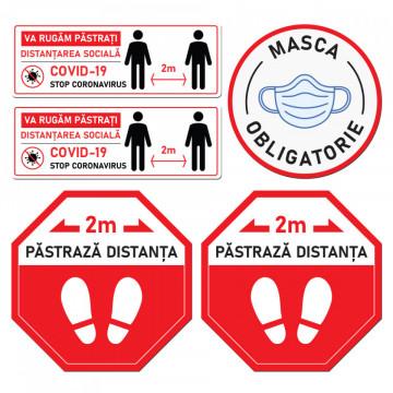 Set Stickere - Autocolante Informare si atentionare Coronavirus - Covid-19, Model 3