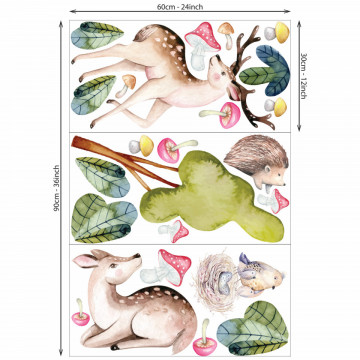 Set stickere decorative perete copii -Animale in Padure 5 , 60x90cm