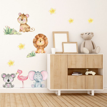 Set stickere decorative perete copii - Animalele jungla 2, 60x90cm