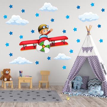 Set stickere decorative perete copii - Baietelul cu avionul, 60x60 cm