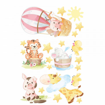 Set stickere decorative perete copii - Be happy animals, 60x90cm