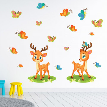 Set stickere decorative perete copii - Caprioarele cu fluturasi 60x90