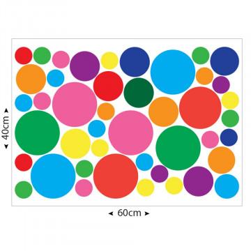 Set stickere decorative perete copii - Cercuri colorate 40x60