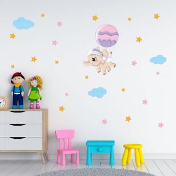 Set stickere decorative perete copii - Elefantul cu balon 60x90