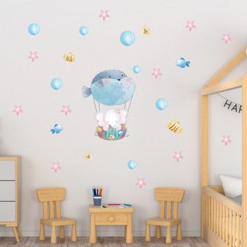 Set stickere decorative perete copii - Elefantul cu pestele balon, 60x90cm