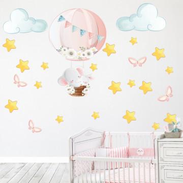Set stickere decorative perete copii - Elefantul cu stelute , 60x60cm