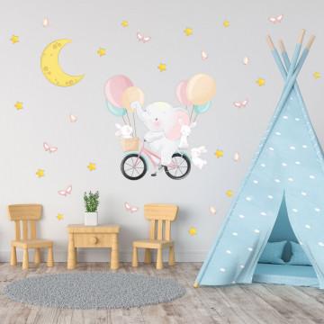 Set stickere decorative perete copii - Elefantul pe bicicleta cu iepurasi, 60x90cm