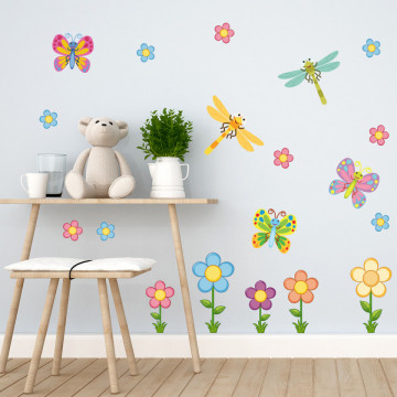 Set stickere decorative perete copii - Floricele3, 60x60cm