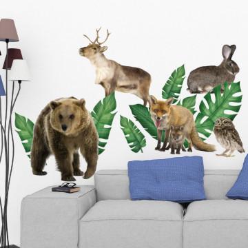 Set stickere decorative perete copii - Forest Animals 9 , 60x90cm