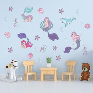 Set stickere decorative perete copii - Sirenele 60x90cm