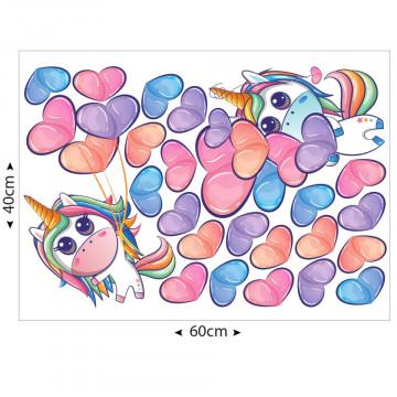 Set stickere decorative perete copii - Unicorn & inimioare