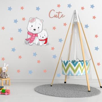 Set stickere decorative perete copii - Ursuletii Cute 60x90