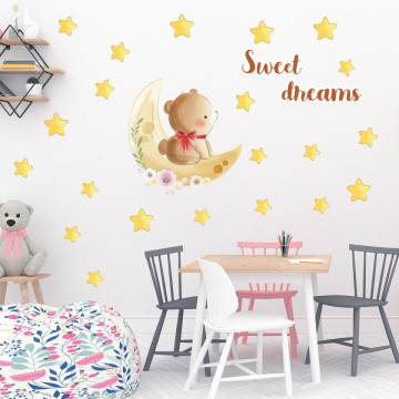Set stickere decorative perete copii - Ursuletul pe luna 60x90