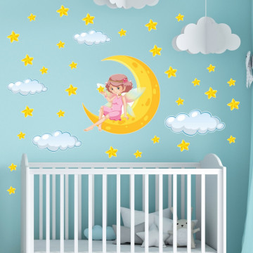 Set stickere decorative perete copii - Zana pe luna 60x90