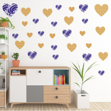 Set stickere decorative perete - Inimioare5, 60x60cm