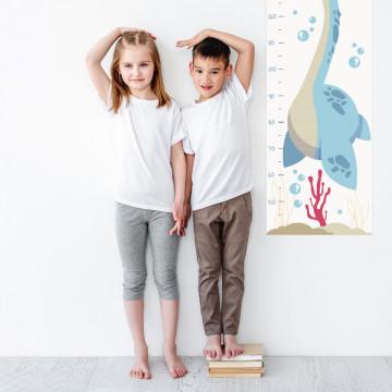 Sticker perete Masurator pentru copii - Dinozaur in ocean, 40x120 cm