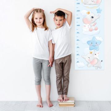 Sticker perete Masurator pentru copii - Elefanteii, 40x120 cm