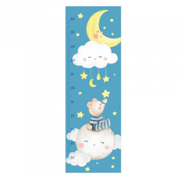 Sticker perete Masurator pentru copii - Ursuletul pe Luna, 40x120 cm