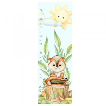 Sticker perete Masurator pentru copii - Veverita, 40x120 cm