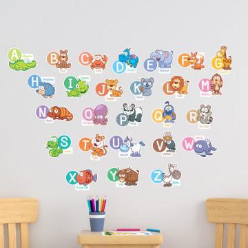 Stickere Educationale copii - Alfabetul si limba engleza, set 60x90cm
