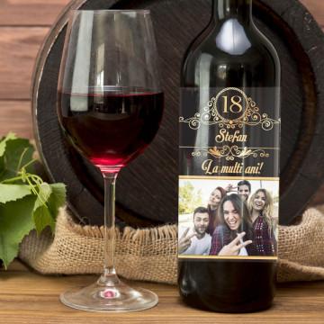 Sticla vin Personalizata - Numar ani, nume, mesaj si poza