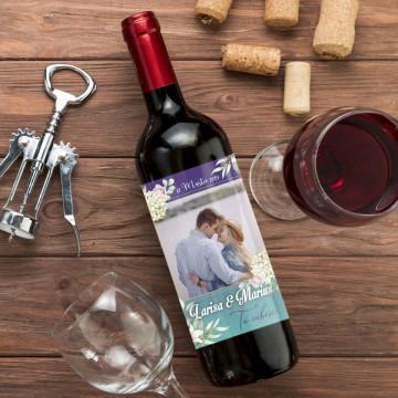 Sticla vin Personalizata - Poza, nume, mesaj si data