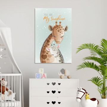 Tablou Canvas, Girafa & Puiul