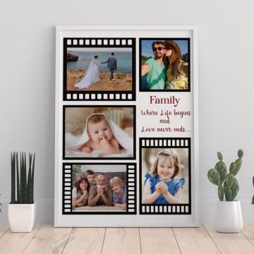 Tablou personalizat cu cinci poze in rola de film si mesaj
