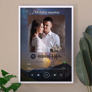 """Tablou personalizat """"Melodia noastra"""", cod Spotify , Noaptea instelata"""