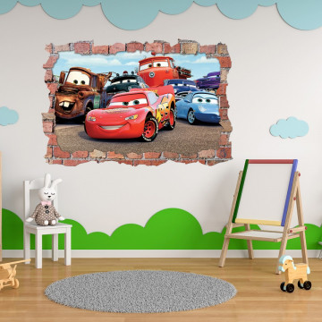 3D Sticker perete 60x90cm - Cars