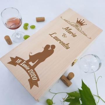 Cutie de vin dubla personalizata - Cuplu
