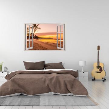 Fereastra 3D, Sticker perete - Peisaj cu apus pe plaja