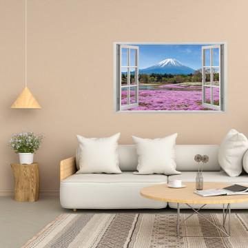 Fereastra 3D, Sticker perete - Peisaj cu munte si camp inflorit