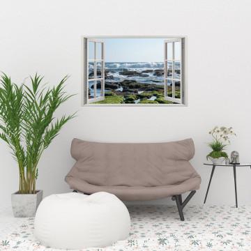 Fereastra 3D, Sticker perete - Peisaj cu tarmul oceanului