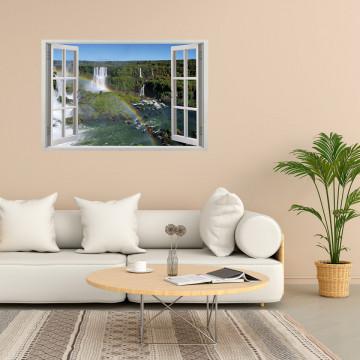 Fereastra 3D, Sticker perete - Peisaj cu un curcubeu si cascade
