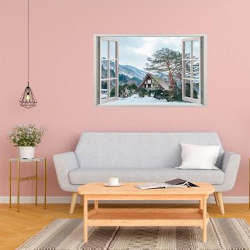 Fereastra 3D, Sticker perete - Peisaj de iarna cu o cabana