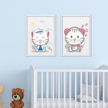 Set 2 tablouri - Pisicutele fericite