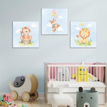 Set 3 Tablouri Canvas, Animalute cu stelute