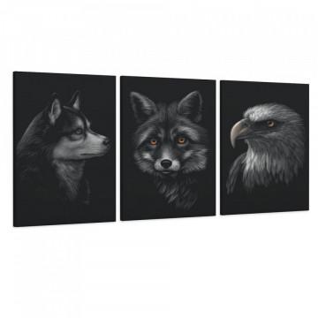 Set 3 Tablouri Canvas, Caine & Vulpe & Vultur