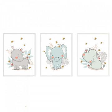 Set 3 tablouri - Elefant, Hipopotam, Rinocer