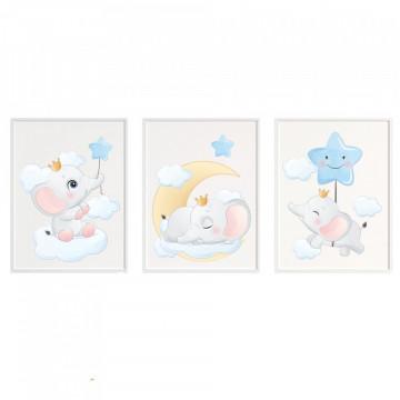 Set 3 tablouri - Elefanteii