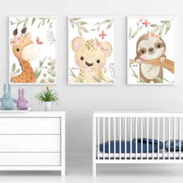 Set 3 tablouri - Girafa, Leopardul si Lenesul