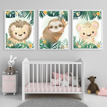 Set 3 tablouri - Leu, Leopard si Lenesul