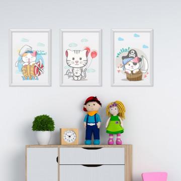 Set 3 tablouri - Pisicutele cu barcuta