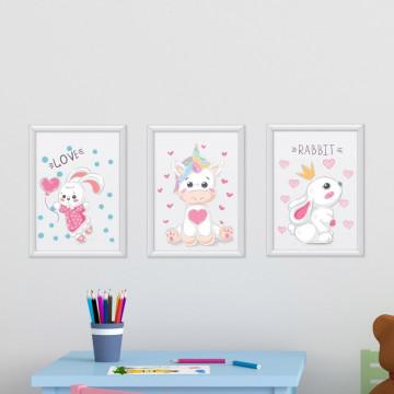 Set 3 tablouri - Unicornul & Iepurasii
