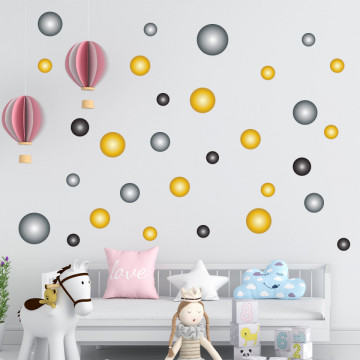 Set stickere decorative perete - Cercuri22, 60x60cm