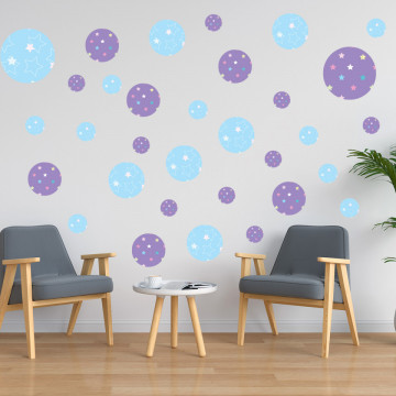 Set stickere decorative perete - Cercuri9, 60x60cm